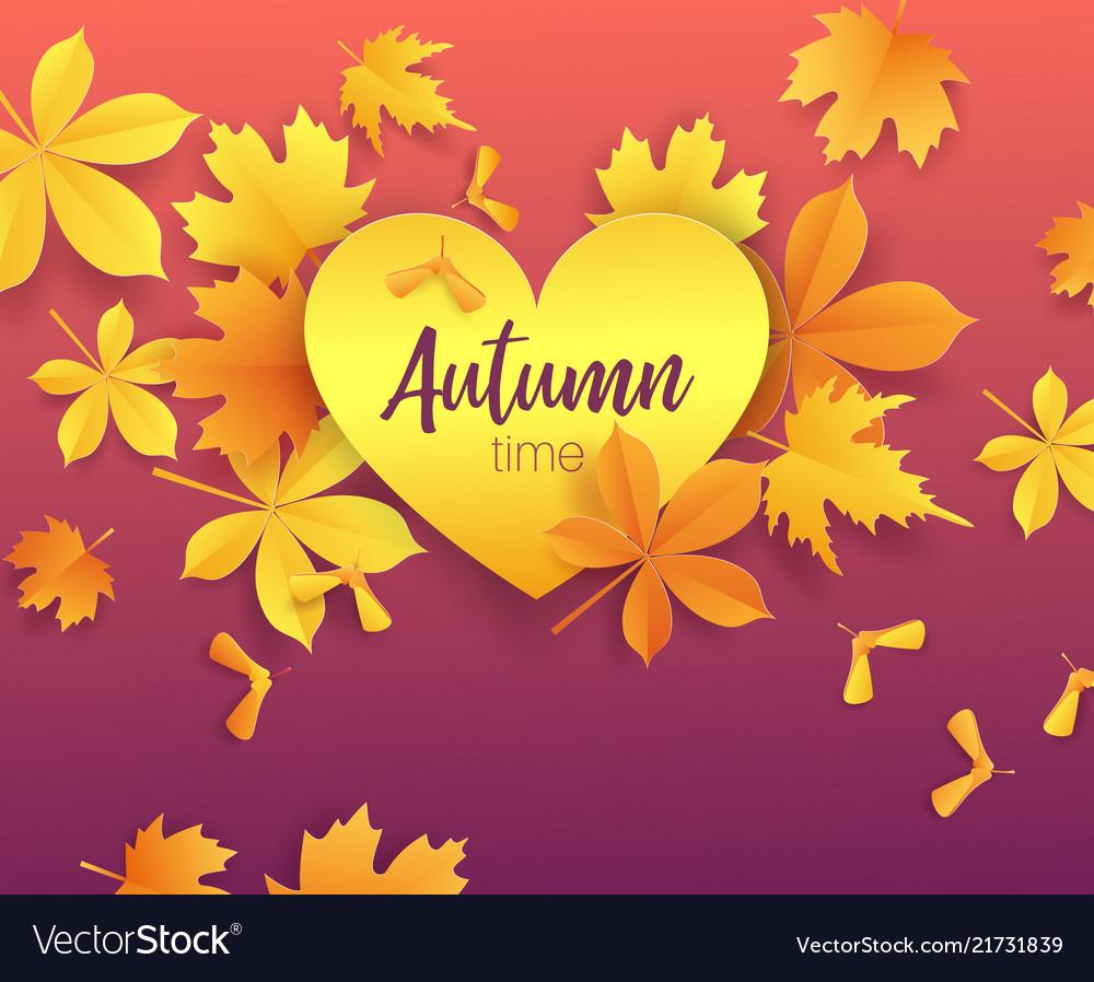 Autumn timeseasonal lettering on paper cut golden
