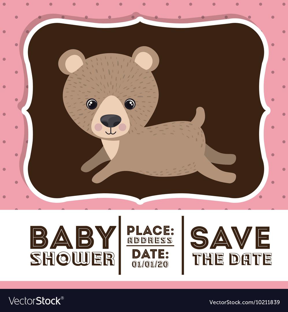 Bear animal baby shower card icon