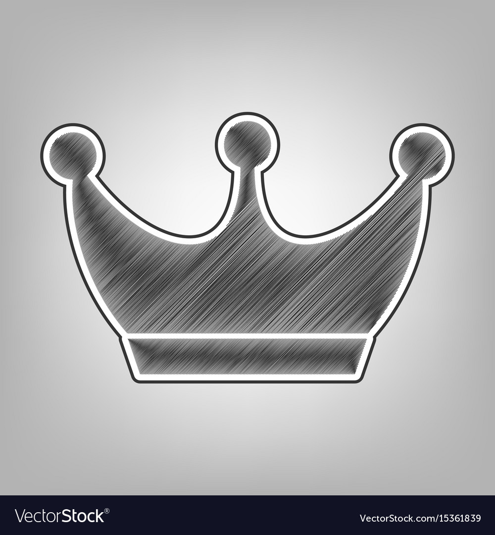 King crown sign pencil sketch imitation