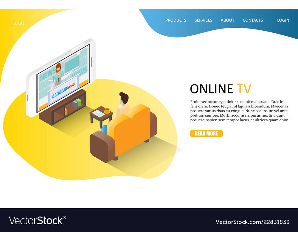 Online tv landing page website template