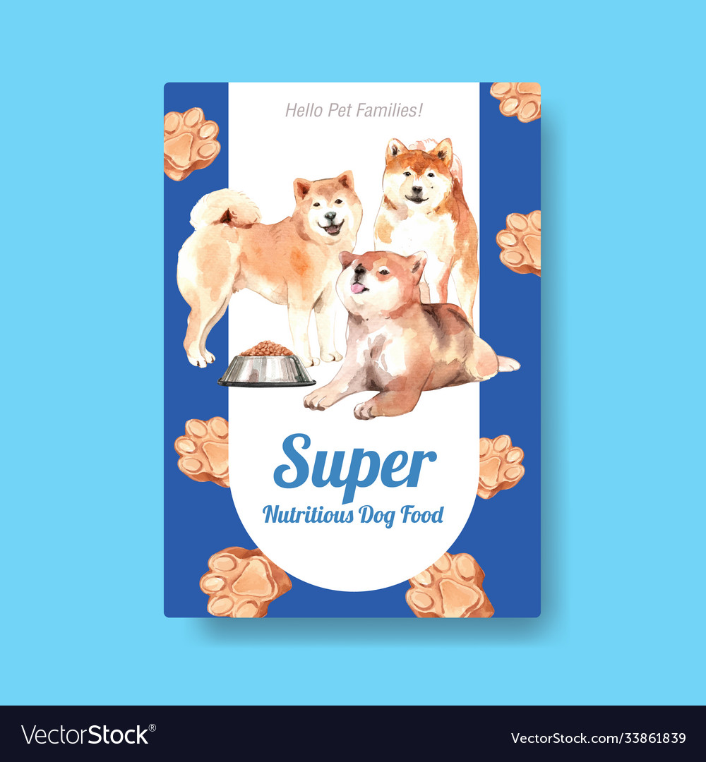 Poster template with dogs and food design