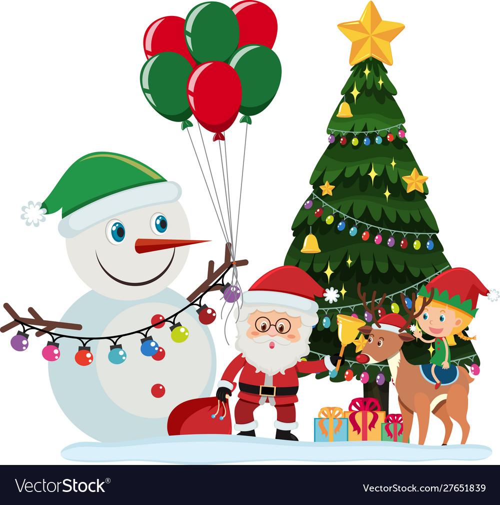 Santa Claus And Snowman Christmas Tree Royalty Free Vector