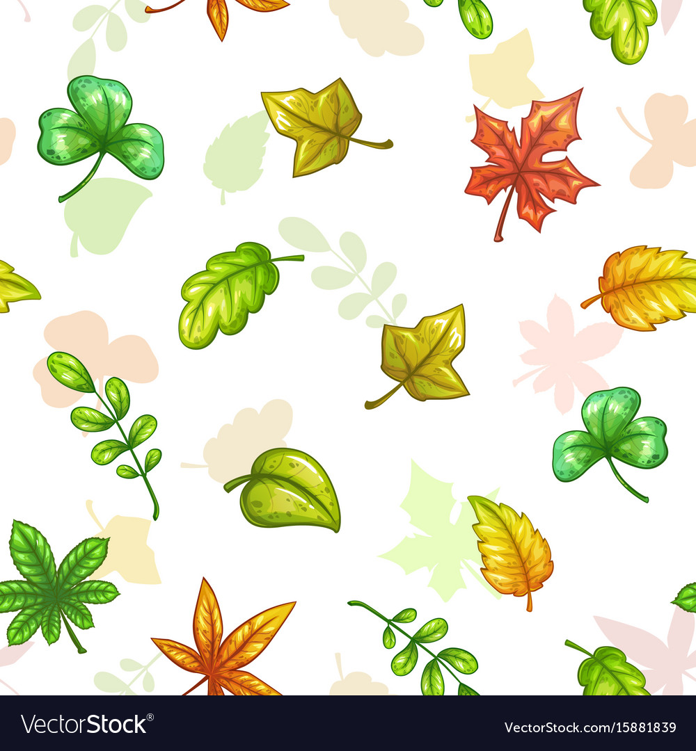 Seamless pattern with falling colorful leaves