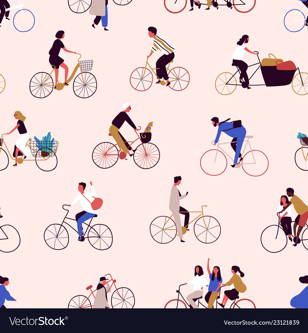 Seamless pattern with people riding bikes or