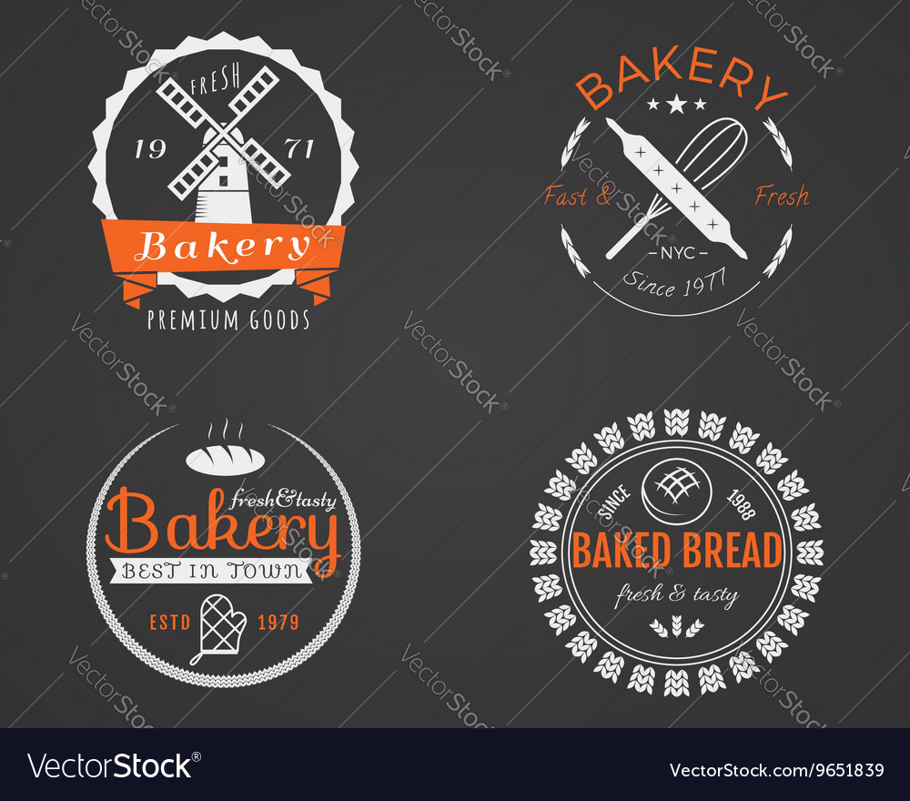 Set bakery labels icons badges and design vector