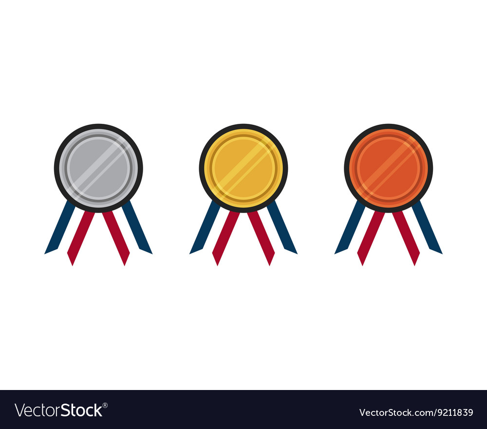 Set of gold silver bronze medal flat design
