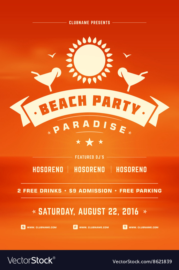 Summer Holidays Beach Party Typography Poster or