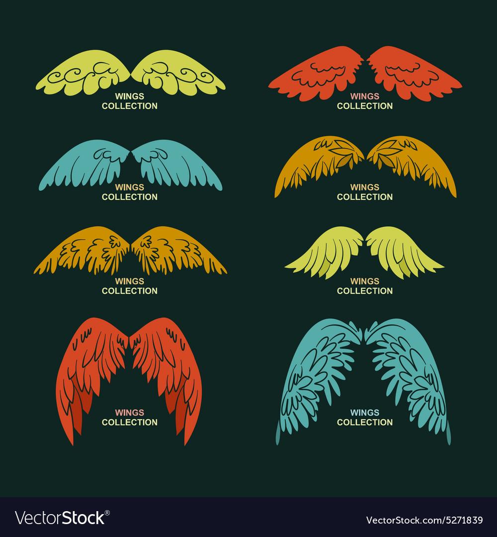 Wing set stylized wings