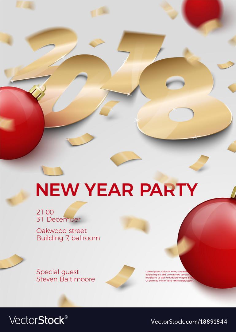 3d realistic new year invitation 2018 royalty free vector 3d realistic new year invitation 2018 vector image stopboris Choice Image