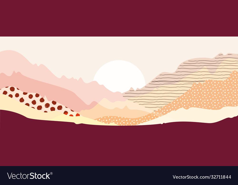 Abstract mountain landscape warm pastel colors art