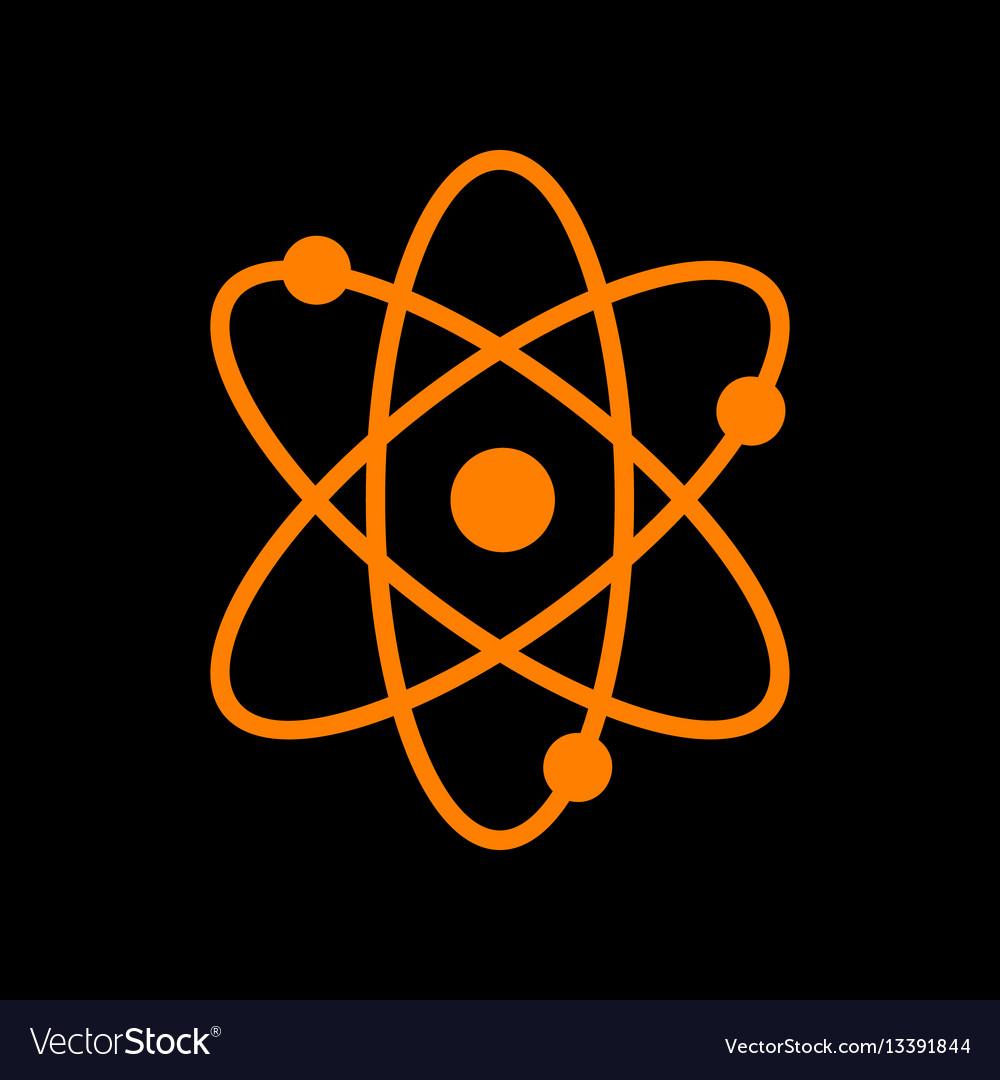 Atom sign orange icon on black