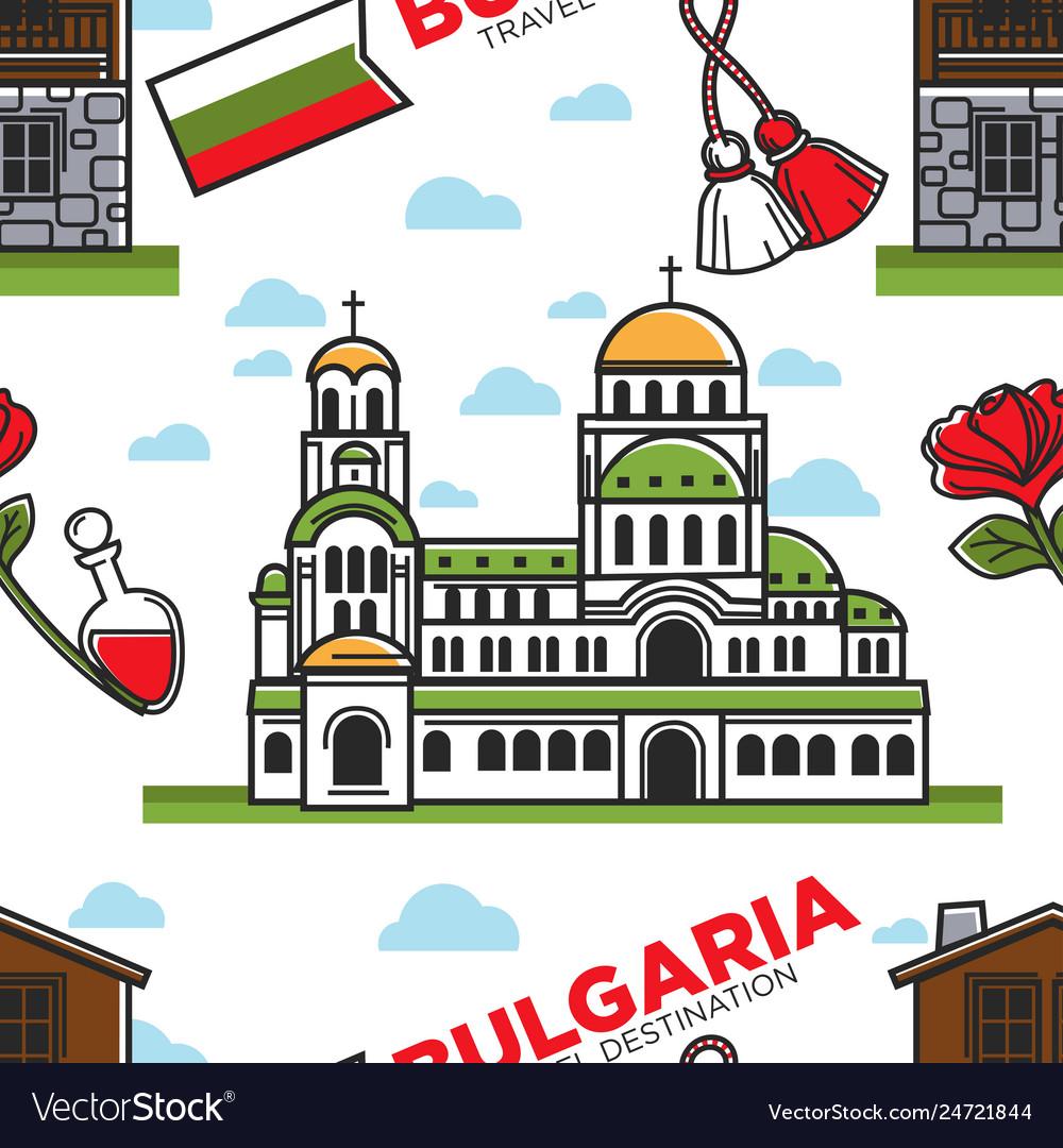 Bulgaria travel destination seamless pattern