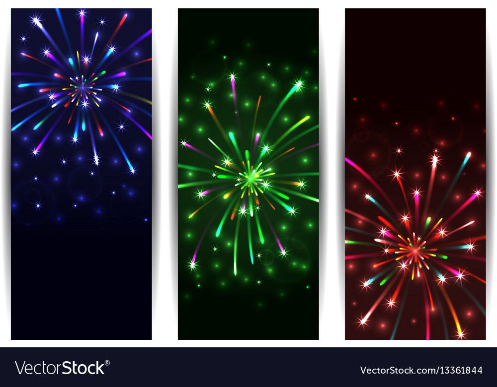 Colorful firework banners