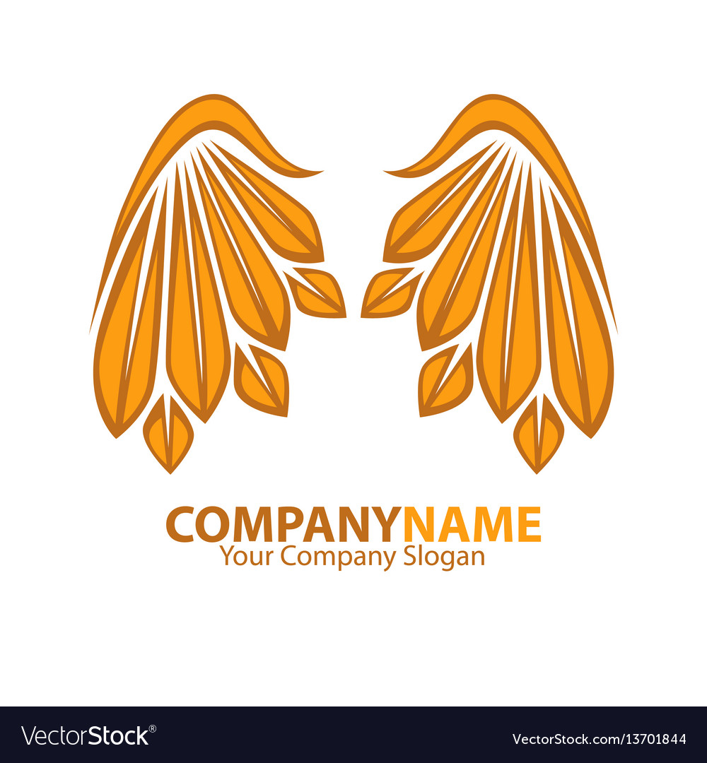 Company name emblem with golden angel wings web