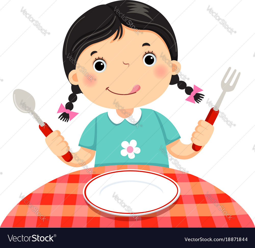 Cute girl holding a spoon and fork with empty