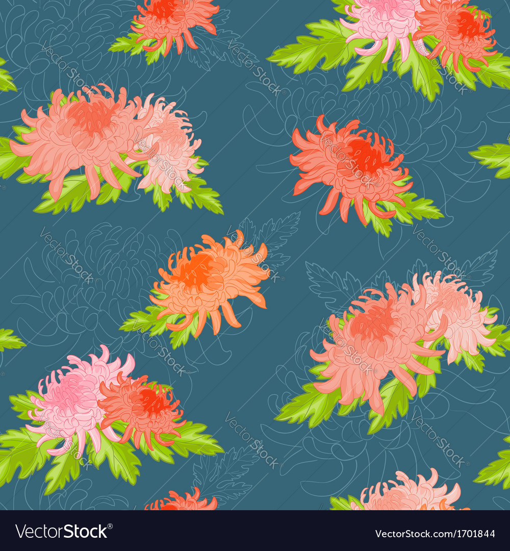 Floral seamless background with chrysanthem