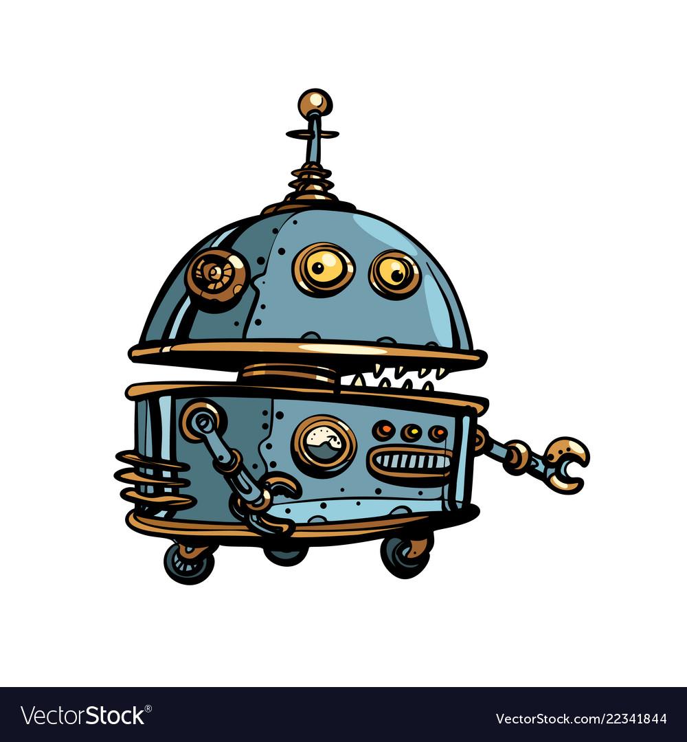 Funny round robot pop art retro cyberpunk