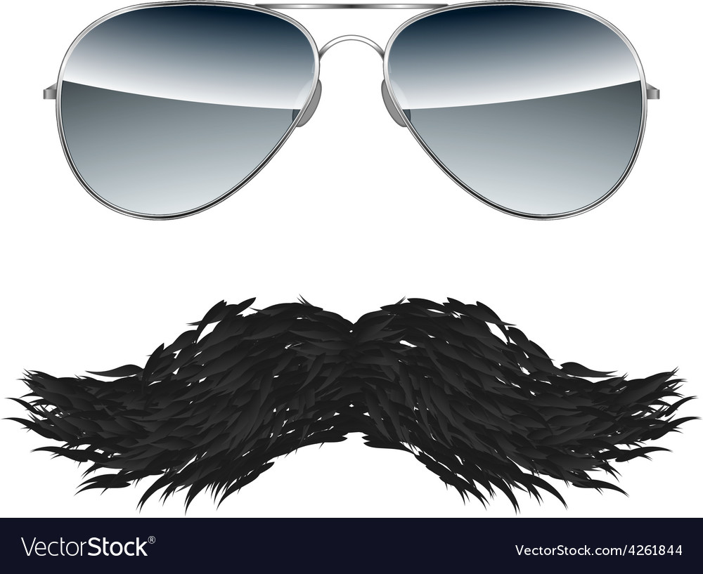 Glasses with Mustache isolated on white background