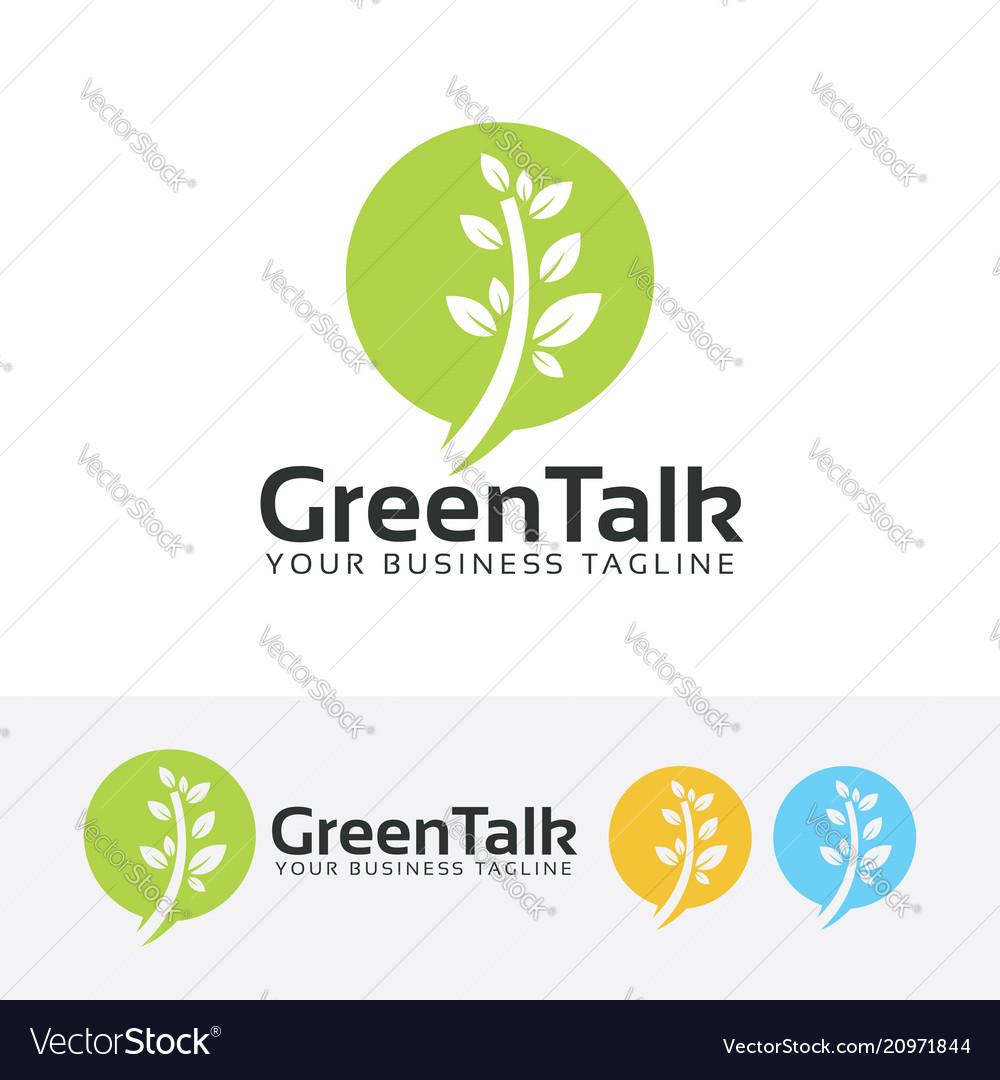 Green talk logo design