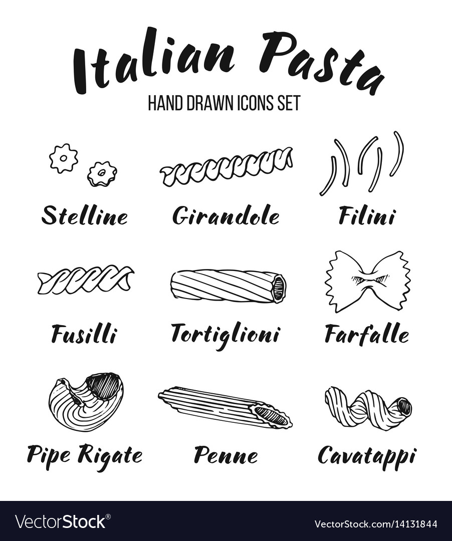 Italian pasta shapes and names set