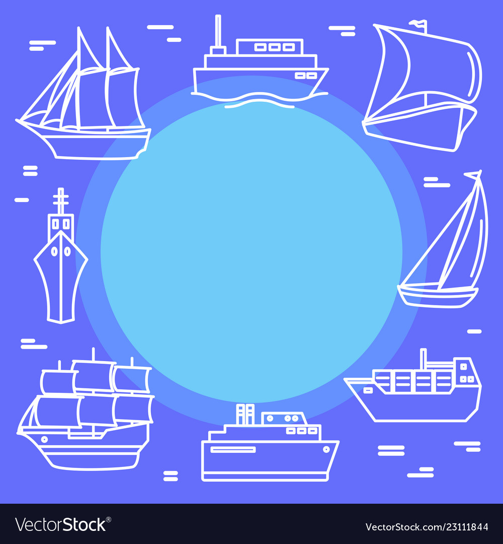 Marine travel concept banner with ship icons in