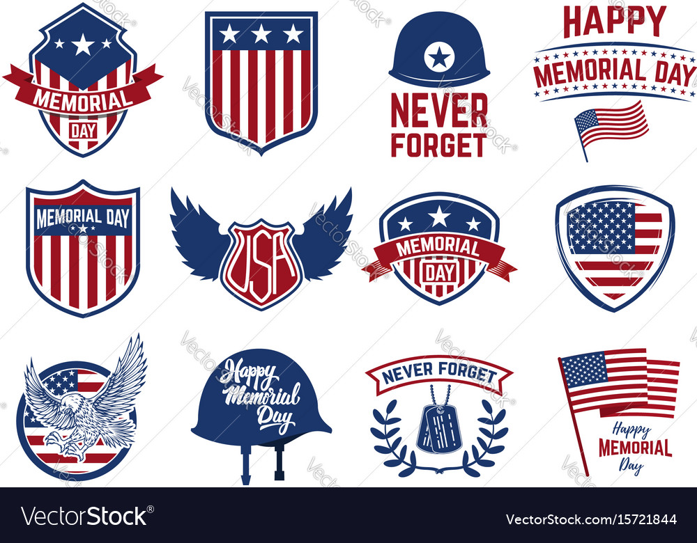 Memorial day set of emblems with american flag