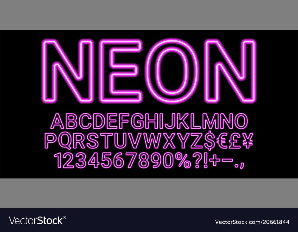 Neon font in purple color