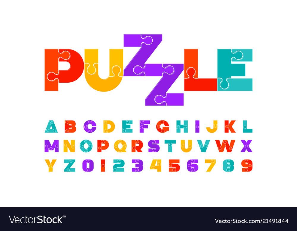 Puzzle font colorful jigsaw puzzle alphabet