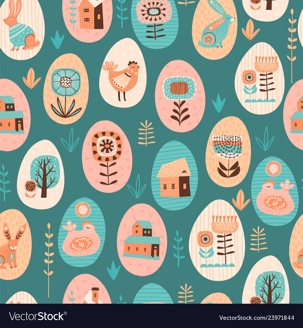 Seamless pattern with easter symbols and