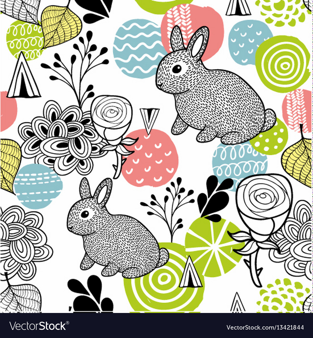 Seamless pattern with spring time rabbits