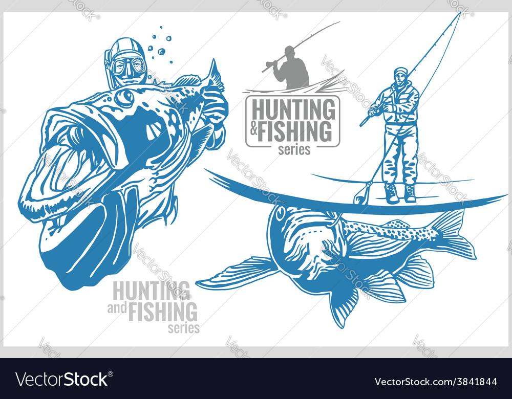 Underwater hunter and fisherman - vintage