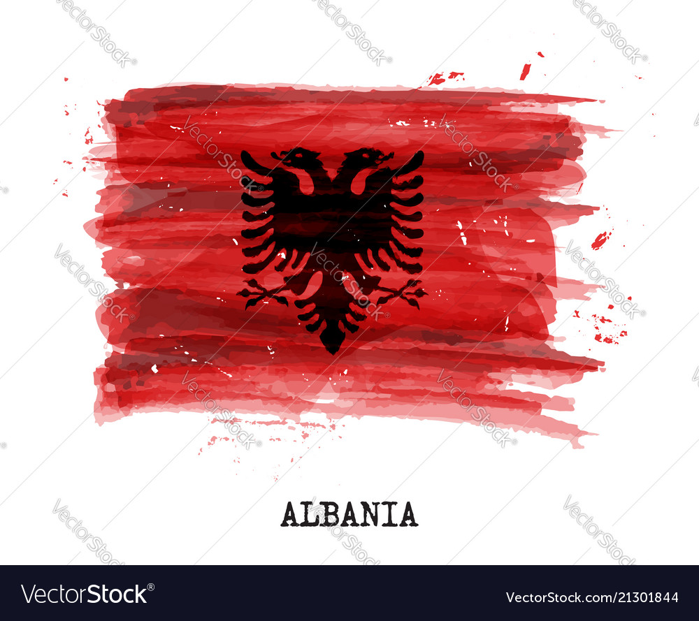 Watercolor painting flag of albania