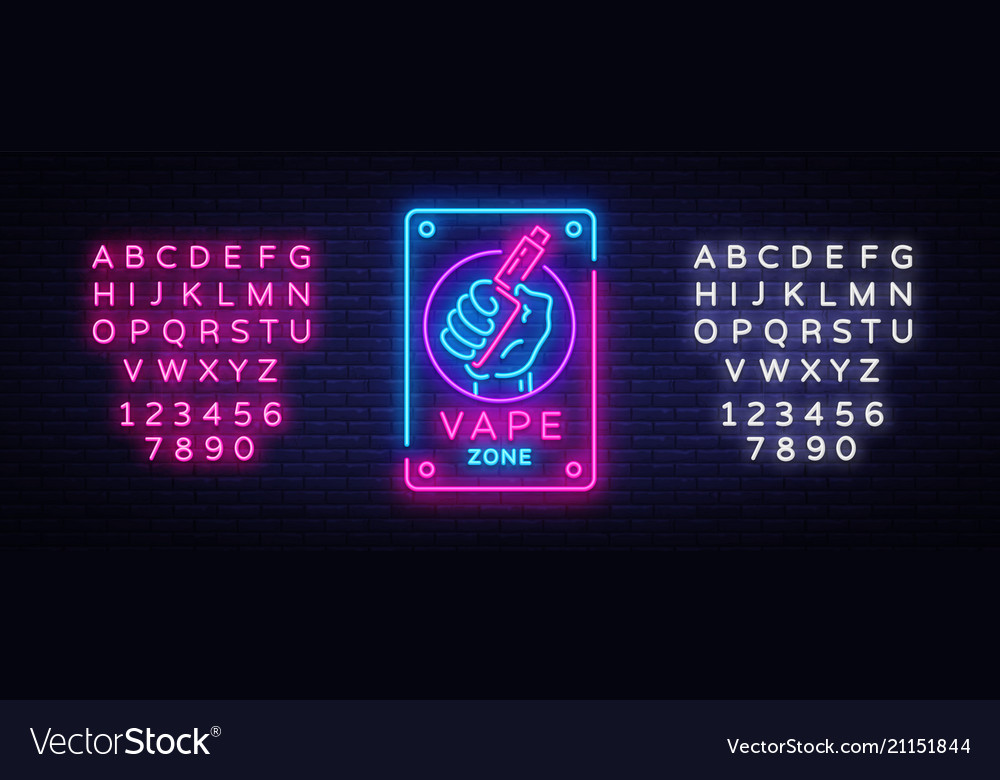 zone vaping neon sign template light royalty free vector
