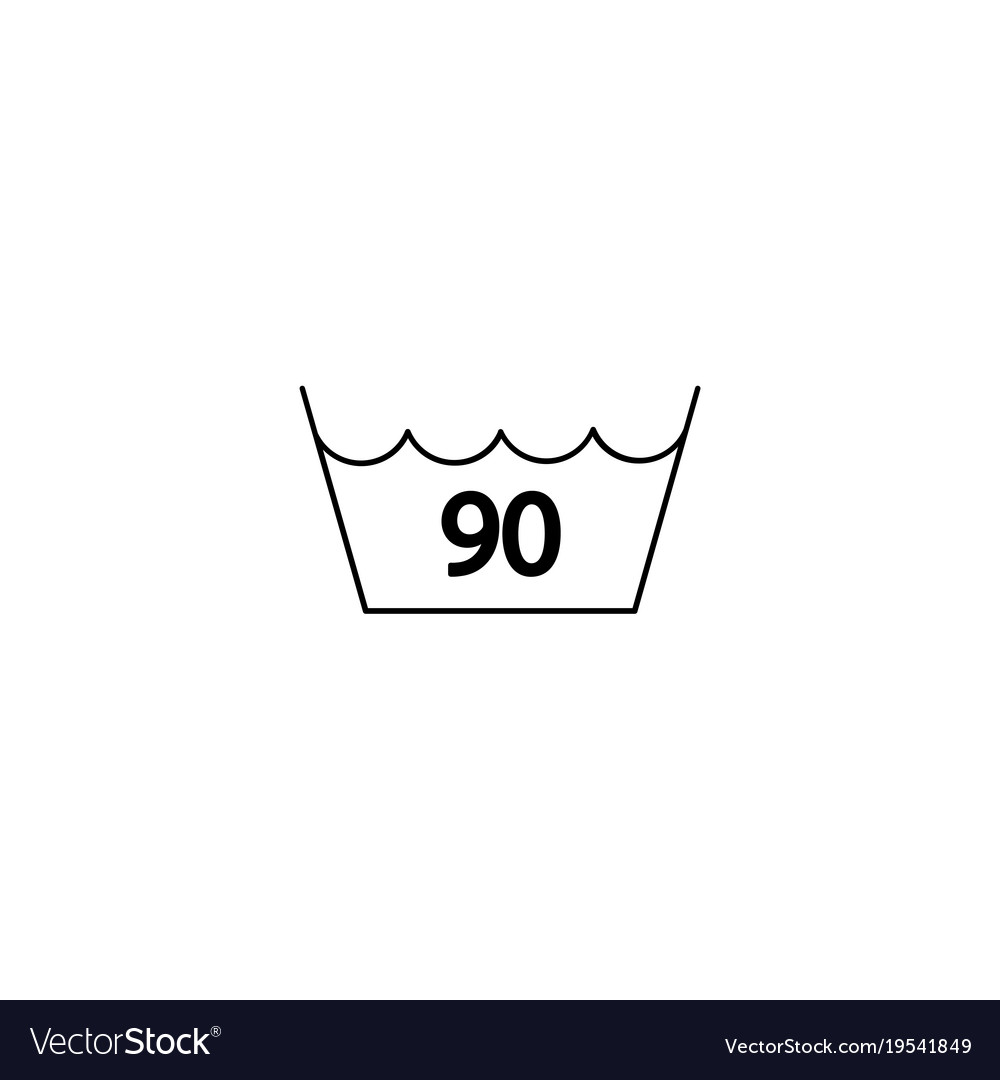 90 Degrees Washing Laundry Symbol Line Icon Black Vector Image