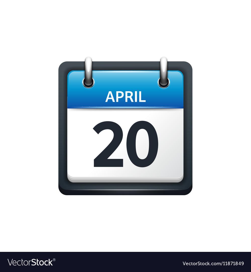 April 20 Calendar icon flat vector image
