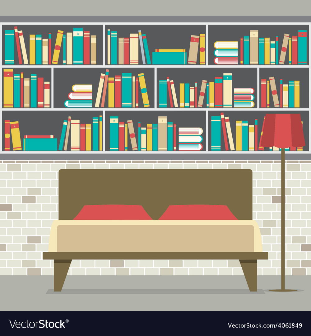 Bookcase In The Bedroom Flat Design