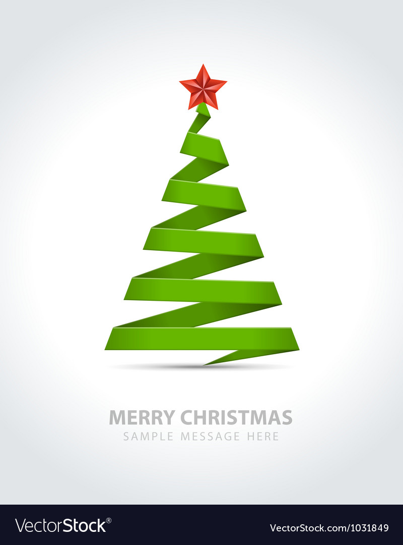 Christmas Tree From Paper Ribbon Royalty Free Vector Image