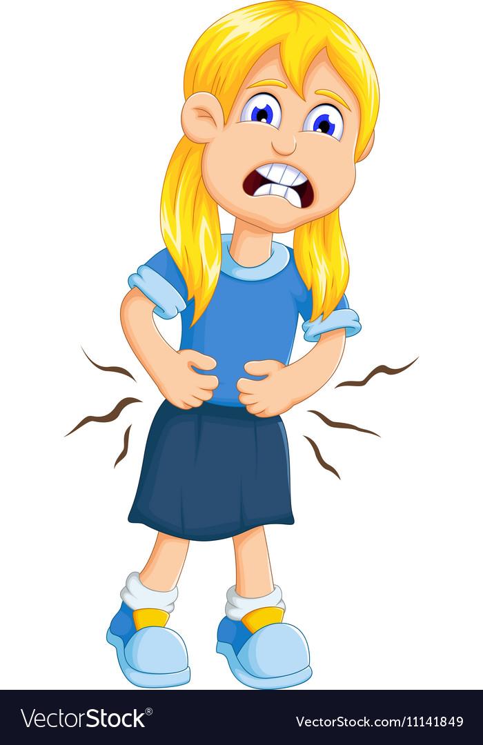 Cute Little Girl Cartoon Stomach Ache Royalty Free Vector