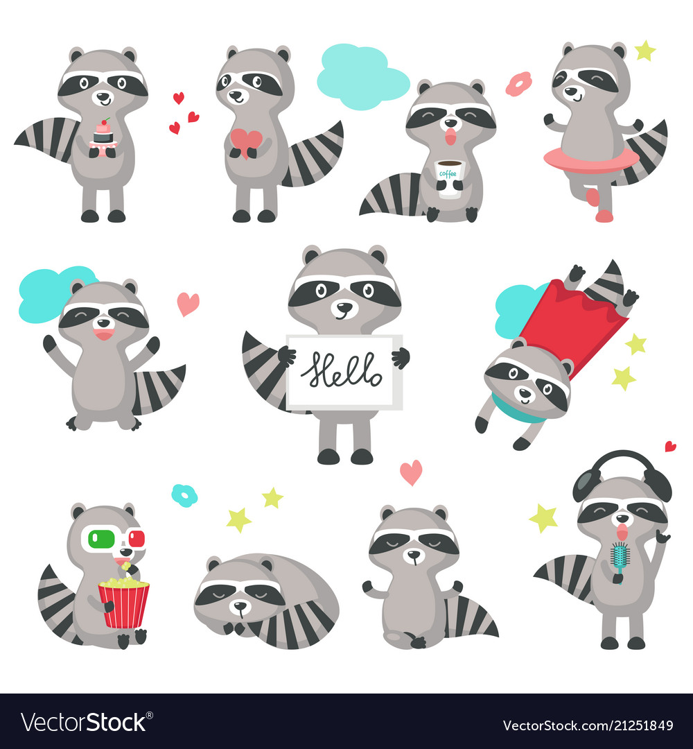 Cute raccoon icon set isolated