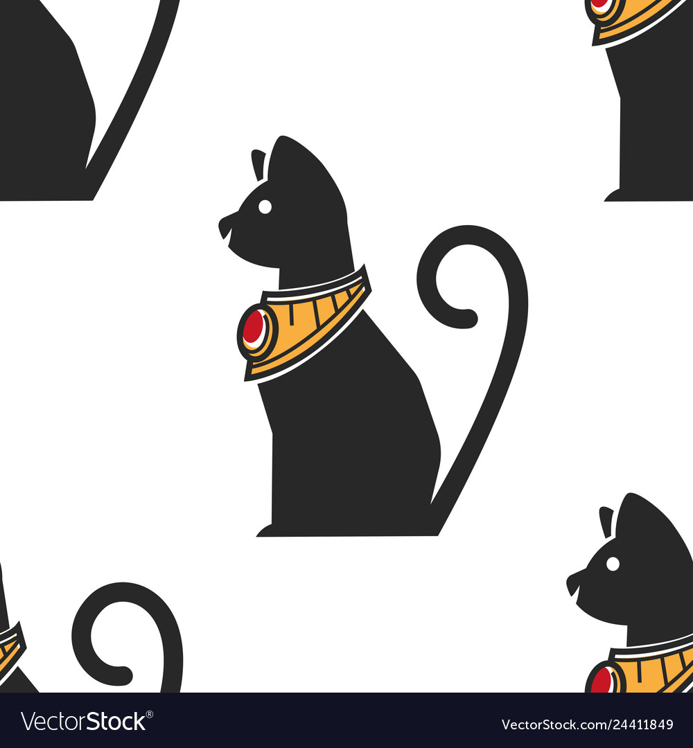 Egyptian cat in gold collar with ruby seamless