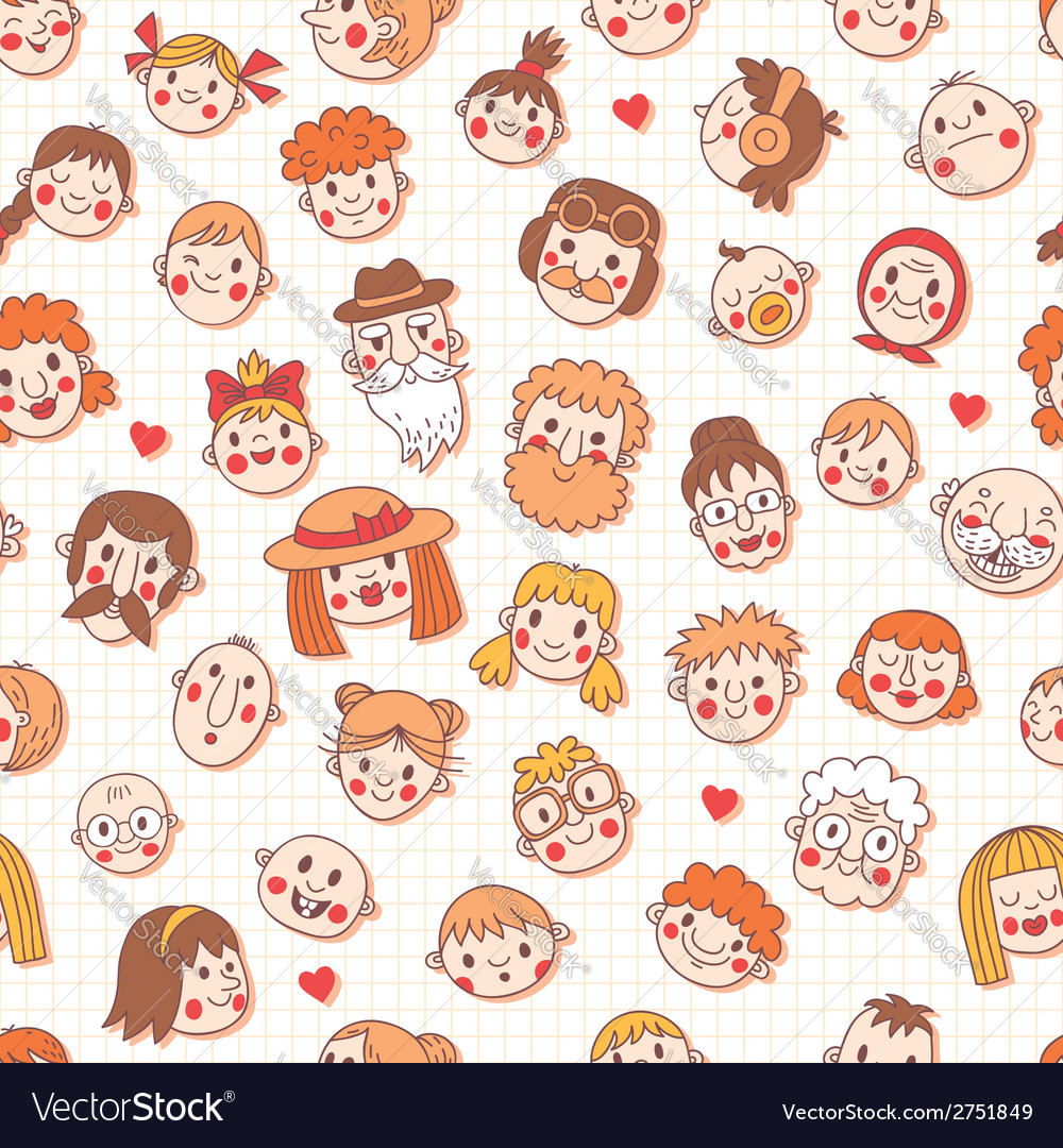 Funny cartoon faces Seamless pattern