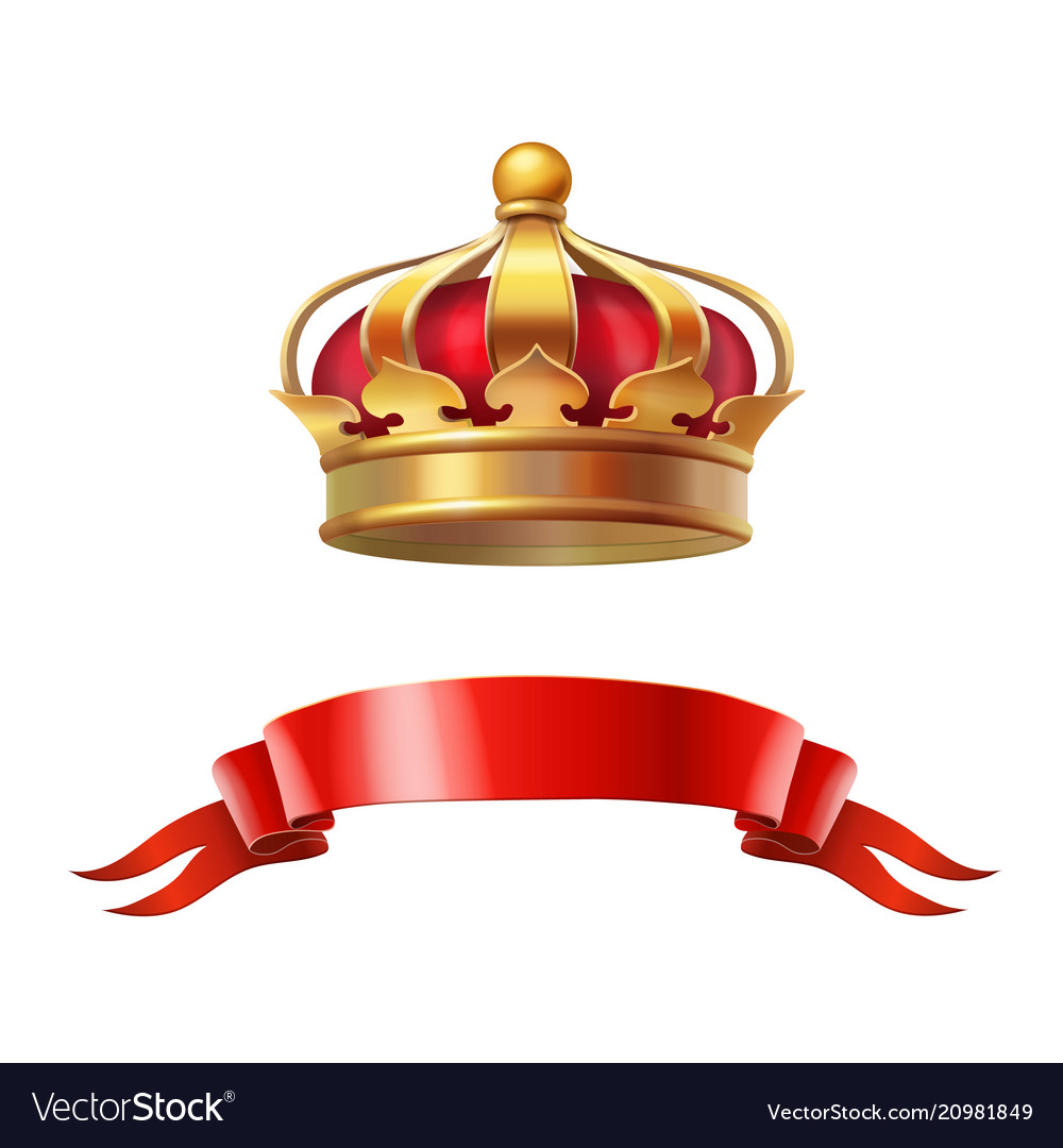 Golden red crown realistic 3d