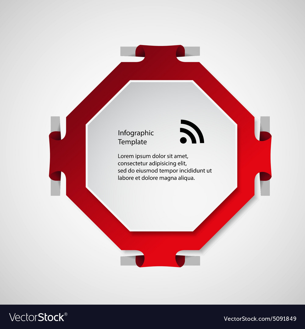 Octagon Shape Template | Infographic Template With Red Octagon Shape Vector Image