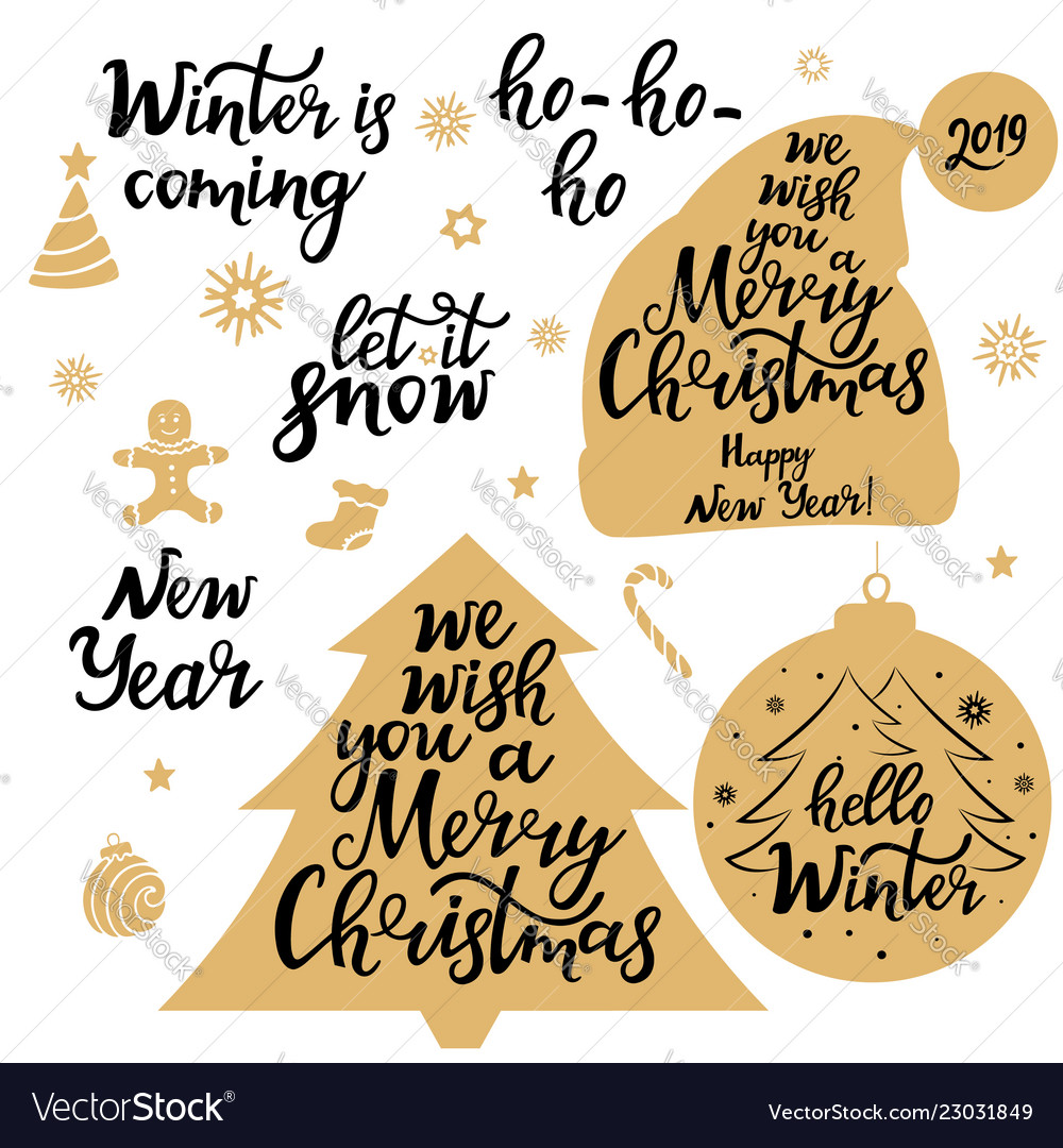 Merry christmas new year 2019 let it snow
