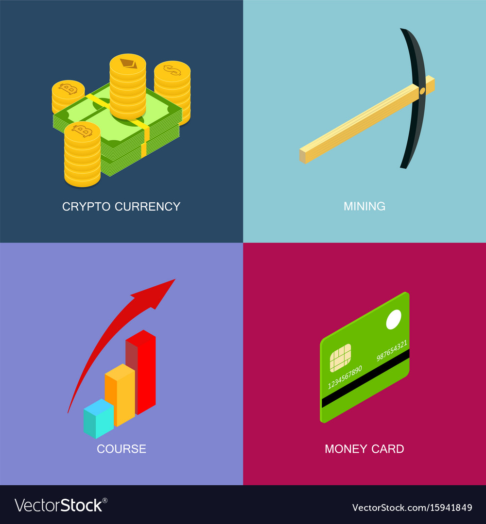 Mining of crypto-currency isometric set of flat vector image