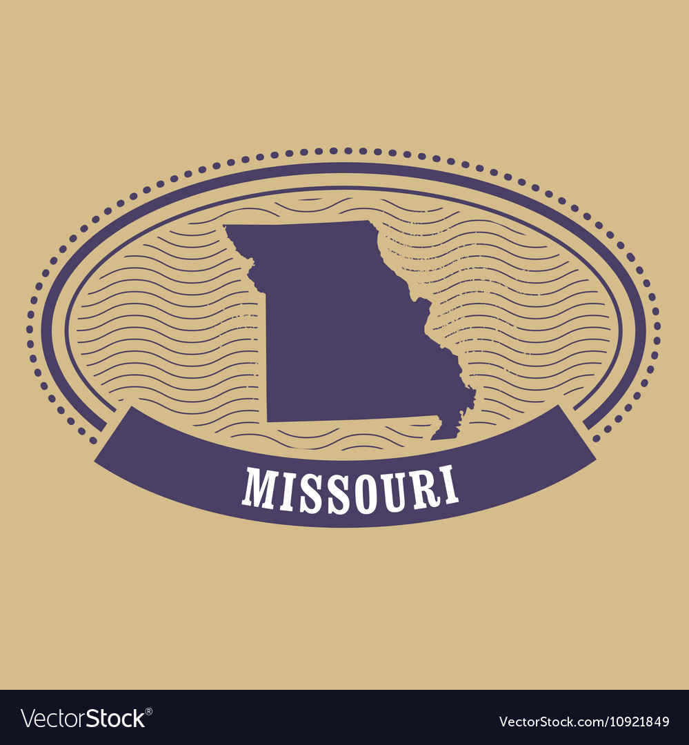 Missouri map silhouette - oval stamp of state