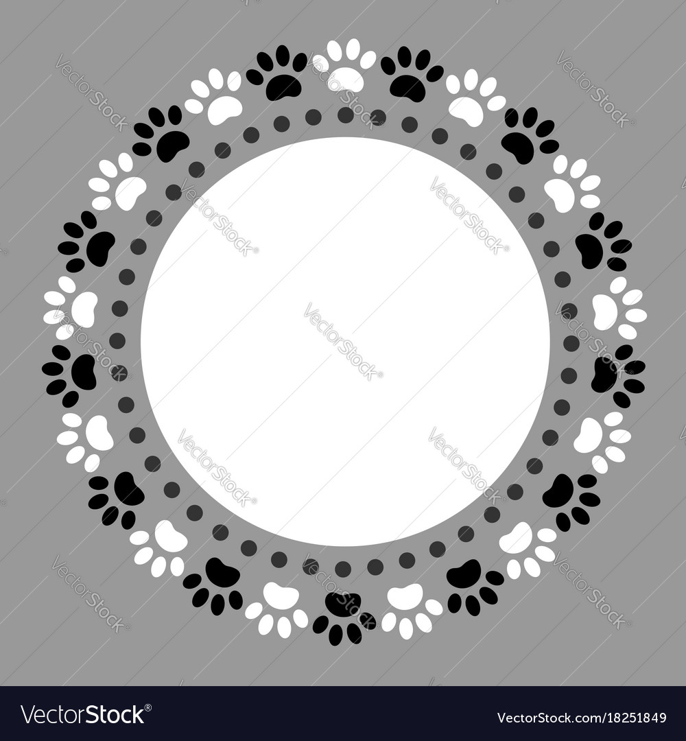 Round frame ornament paw prints pets vector image