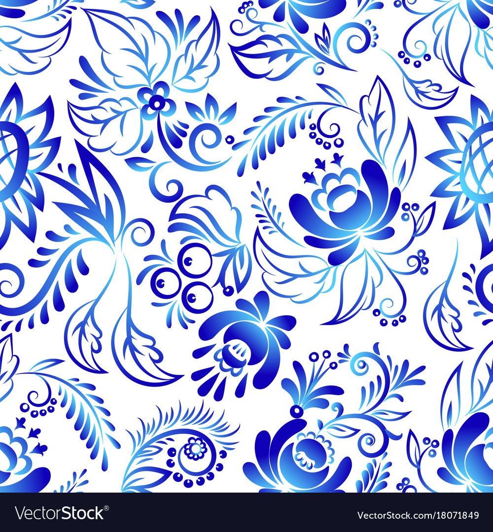 Russian ornaments art style gzhel blue flower
