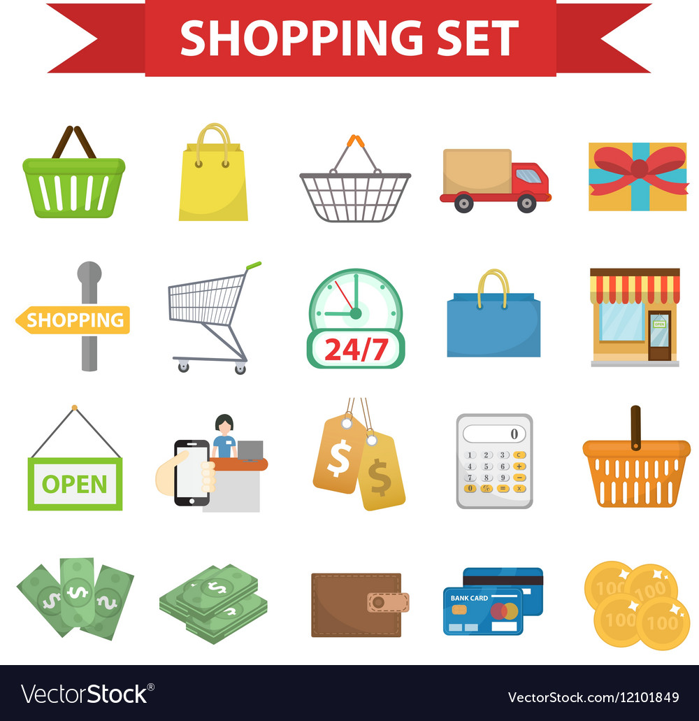 Shopping icon set flat style Shop icons
