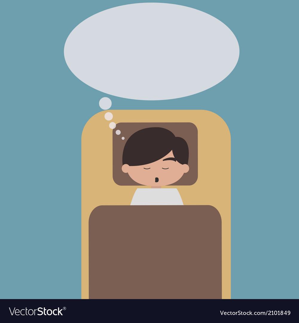 Sleeping man with speech bubble vector image